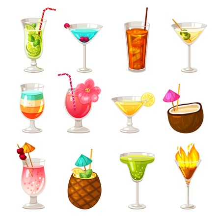 night bar: Icons set of different night club bar and tropic alcohol cocktails isolated vector illustration