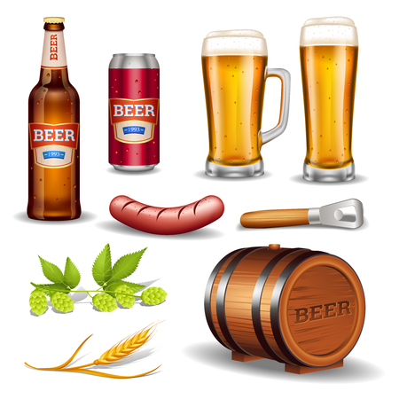 keg: Beer realistic icons collection with bottle glass mug keg sausage and hop cones isolated vector illustration