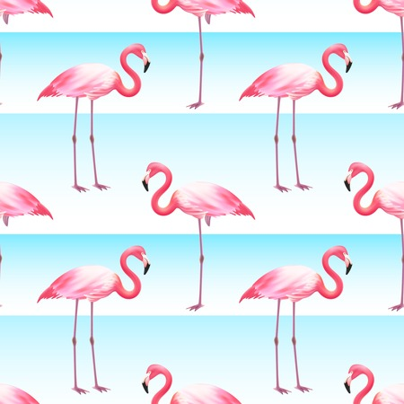 Pink flamingo bird standing on one and two legs horizontal ocean blue stripes seamless pattern vector illustration
