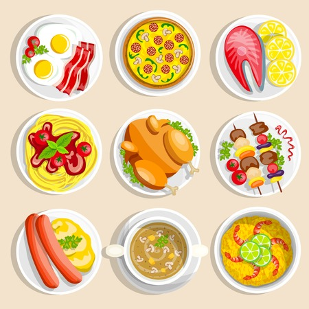 main: Main dishes set with traditional food dinner breakfast eggs chicken pizza pasta on the plate vector illustration