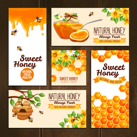 nectars: horizontal vertical and square banners presenting sweet natural honey with bees hive and wax cells vector illustration Illustration
