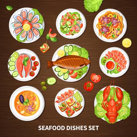 ensalada de frutas: Cartel con platos de mariscos conjunto de diferentes mejillones langosta cáncer de peces y calamares con la ilustración de vector de verduras