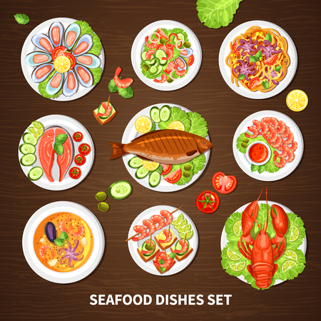 dishes set: Poster with seafood dishes set of different fishes cancer lobster mussels and squid with vegetables vector illustration