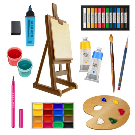 art supplies: Artistic decorative elements of tools and art supplies with easel palette paints brush and pencil isolated vector illustration