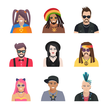 subcultures: Different subcultures portrait people in flat style isolated icons set vector illustration