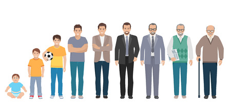 Different generations full length silhouette european men isolated set vector illustration Illustration