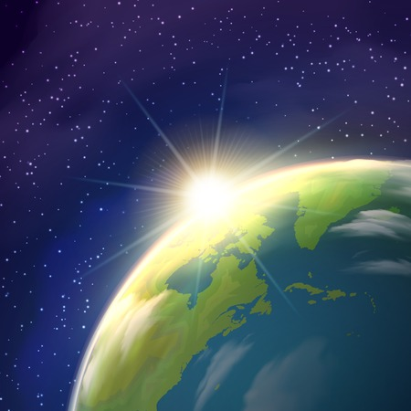 bright sun: Planet earth globe  pace view with bright rising sun and stars constellations on blue background  realistic  poster vector illustration