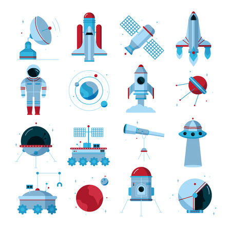crawler: Space flat icons set with spacecrafts  instruments moon crawler and  telescopes white background poster abstract vector illustration Illustration