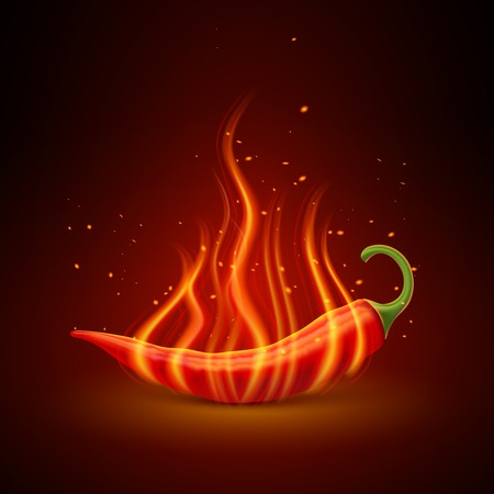 Flaming red chili pepper pod glowing in darkness hot dishes symbol single object poster realistic vector illustration