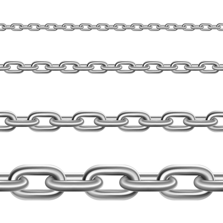 broad: Stainless metal broad and thin steel realistic chains fragments collection for decoration and construction isolated vector illustration