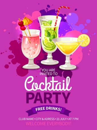 party club: Bright color flyer for invitation to night club cocktail summer party vector illustration Illustration