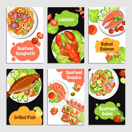 Color cards with title of seafoods for banner vector illustration Illustration