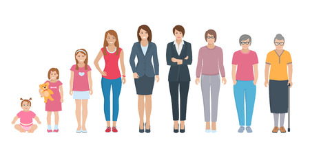 Different generations full length silhouette european women isolated set vector illustration