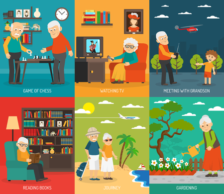 quality of life: Old aging people quality life 6 flat icons composition  with  traveling and hobbies abstract isolated vector illustration