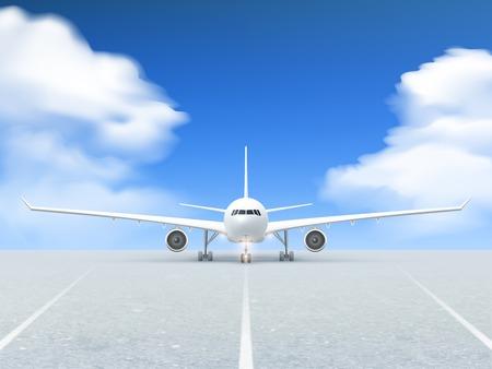 Witte vliegtuig bereidt af te nemen van de startbaan poster op een realistische blauwe achtergrond en bestrating vector illustratie