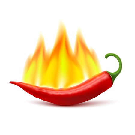 hottest: Flaming red chili pepper pod image as symbol of spicy world hottest food ingredient realistic vector illustration Illustration