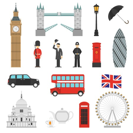 London landmarks weather and english traditions symbols isometric icons collections with big ban abstract isolated vector illustration