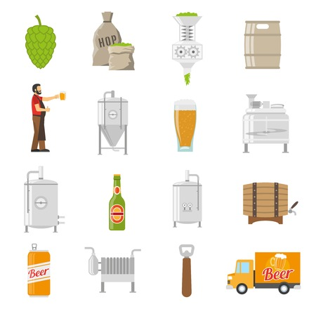 brewery: Brewery Icons Set. Brewery Vector Illustration. Brewery Flat Symbols. Brewery Design Set. Brewery Elements Collection.