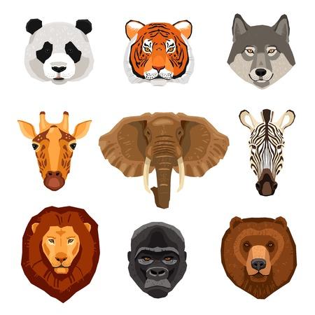 Beelden set van wilde dieren portretten getekend in vlakke stijl geïsoleerde vector illustratie Vector Illustratie
