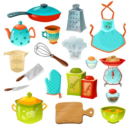 utensil: Cooking decorative icons set of kitchen utensils with frying pan pot teapot whisk scales apron and gloves isolated vector illustration Illustration