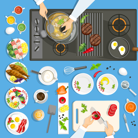 mushroom soup: Dishes and utensils on the kitchen top view with cooking surface vector illustration Illustration