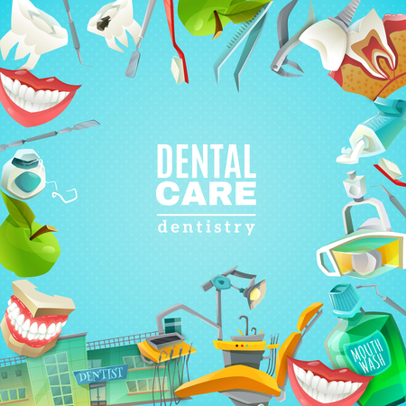 mouths: Complete mouth care dentals clinics comprehensive flat square frame background poster abstract decorative vector illustration