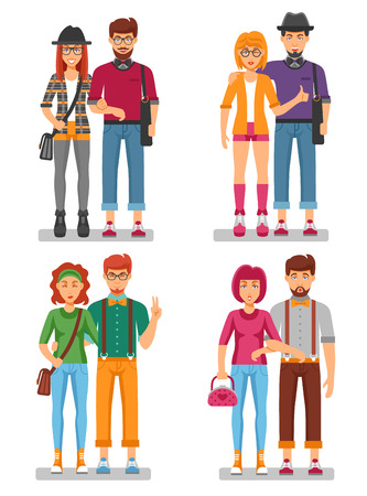 suspenders: Hipster couples concept of young trendy people with gestures in stylish colorful clothes isolated vector illustration Illustration