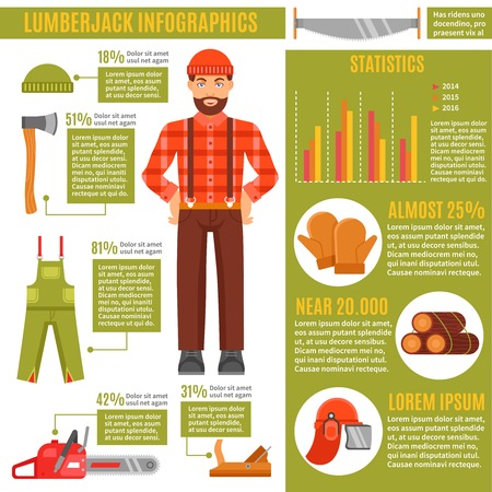 overall: Lumberjack and working tools Infographics with avatar of woodcutter in center data diagrams statistics vector illustration Illustration