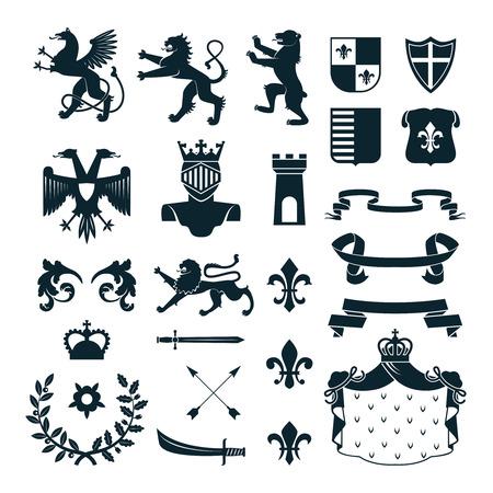 王室紋章エンブレム デザインと家族の紋章付き外衣の要素コレクション黒分離ベクトル図を抽象化します。