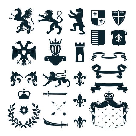 regal: Heraldic royal symbols  emblems  design and  family coat of arms elements collection black abstract isolated vector illustration