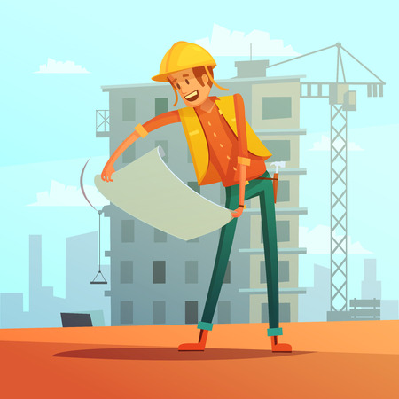 builder: Builder and building plan cartoon background with house and crane vector illustration