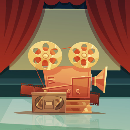 videocassette: Cinema retro cartoon background with red curtain and tape vector illustration