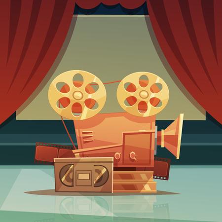 videocassette: Fondo del cine de dibujos animados retro con la cortina roja y la ilustración vectorial de cinta Vectores