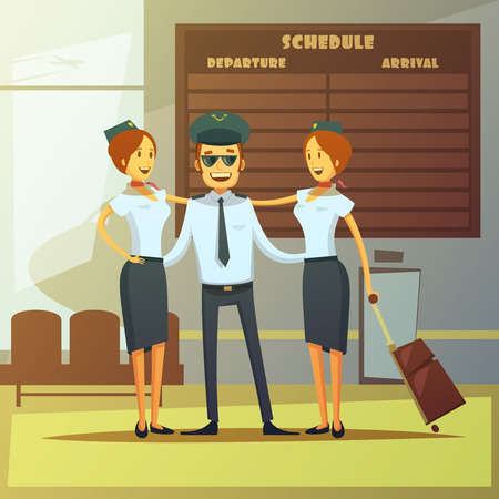 airlines: Airlines cartoon background with pilot and stewardess in airport hall vector illustration Illustration
