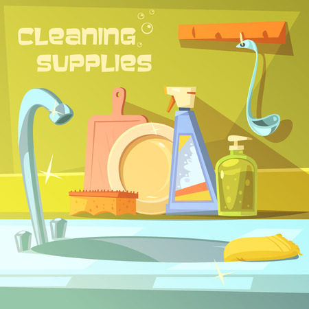 house cleaning background poster with composition of different tools for cleaning service