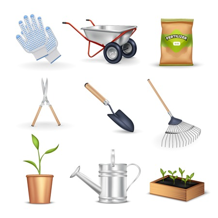 handcart: Gardening realistic decorative icons set of tools for work in garden seedling gloves and package with fertilizer vector illustration Illustration
