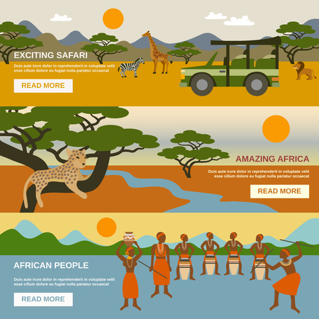 car clothes: Africa horizontal banners set with african people symbols flat isolated vector illustration