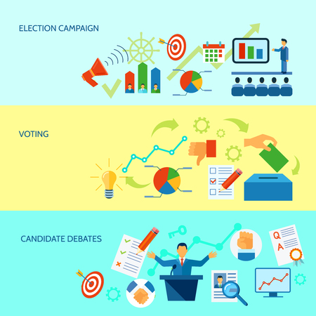 election debate: Election campaign debate and voting  process diagramm banner set in yellow and blue background  vector illustration Illustration