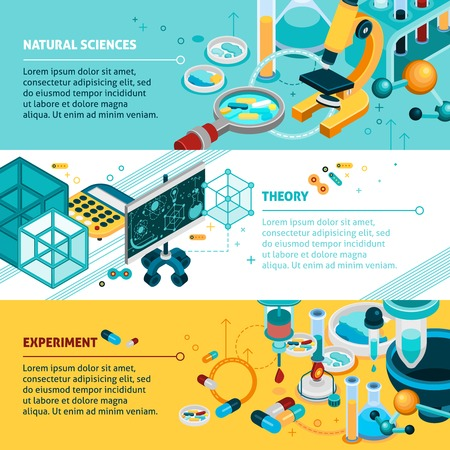 science symbols: Science isometric horizontal banners set with experiment and theory symbols isolated vector illustration