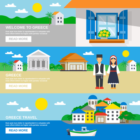 50a3df7ceee Three horizontal banner set with the Welcome to Greece slogan and  decorative landscapes vector illustration