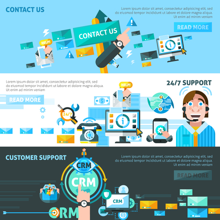 Customer support CRM horizontal banners set with communication symbols flat isolated vector illustration