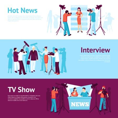 pressman: Journalist news pressman banner set with interview tv show operator vector illustration