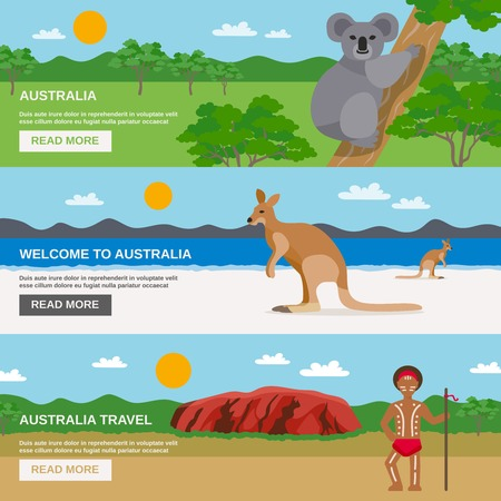 australia: Australia travel horizontal banners set with beach desert aborigine and wildlife isolated vector illustration