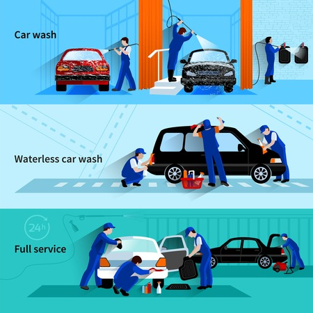 Full service car wash met bedienden team schoonmaak voertuig 3 flat banners abstract vector geïsoleerde illustratie