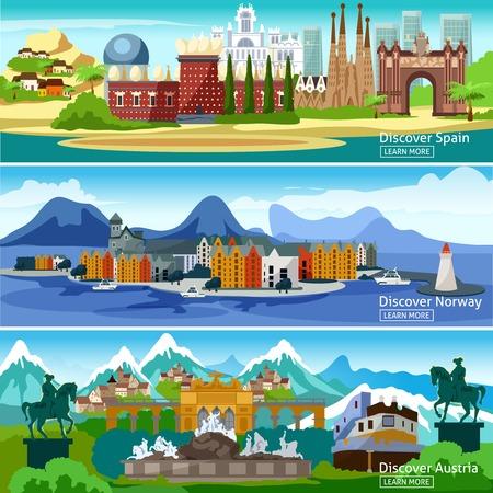 Vistas panorámicas de banners horizontales de los principales atractivos de las ciudades turísticas europeas en España Noruega y Austria ilustración vectorial
