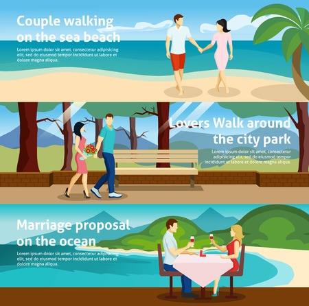 different ways: Horizontal banner set with fall in love people acting together in different ways vector illustration Illustration