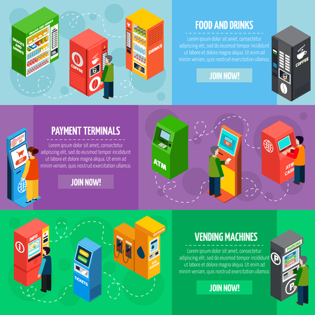 vending: Vending food and drinks dispensers isometric banners set with payment and tickets selling machines isolated vector illustration