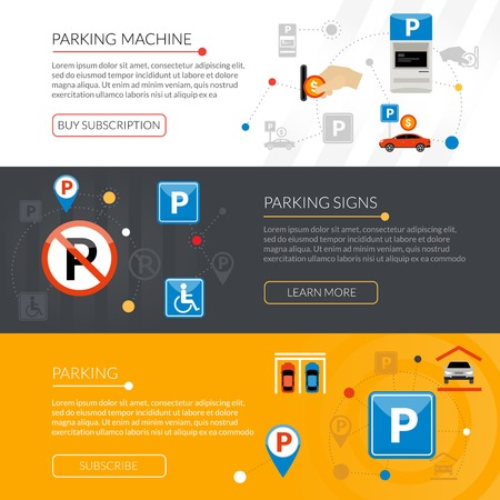 rules: Isolated flat horizontal banners set with parking signs equipment rules violations grouped in infographic style vector illustration Illustration