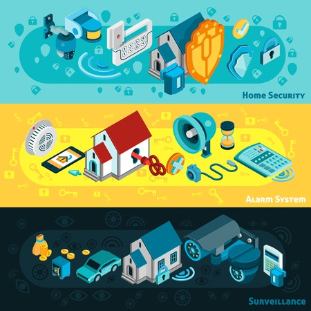 camera surveillance: Security system horizontal banners set with alarm and surveillance symbols isometric isolated vector illustration Illustration