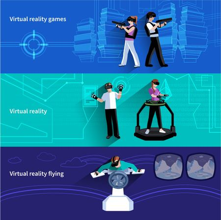 virtual world: Virtual reality artificial world 3 flat horizontal banners set with military games and flying abstract isolated vector illustration Illustration
